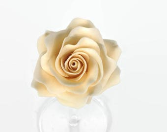 Cream Rose Sugar Flower, Ivory Gumpaste Rose for Modern Wedding Cake Toppers, Cake Decor, DIY Weddings