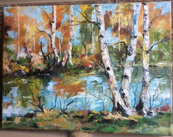 Landscape, Rivera del Rio, Impressionism, palette, knife art, 30cmX40cm