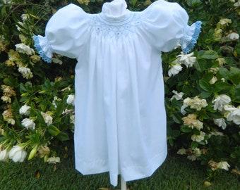 Sweet White Handsmocked Bishop Dress