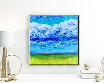 Original Painting, Original Oil Painting, Custom Big Sky and Field Painting, Finger Painting and Palette Knives Oil on Canvas