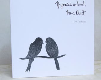 """Elegant, Simple, Card, """"The Notebook"""" Quote, Printed and Hand Stamped"""