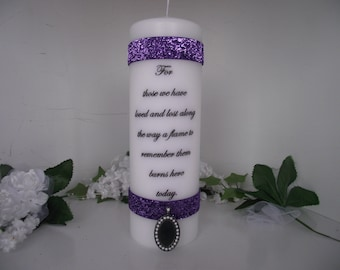 "Memory pillar candle honoring "" those we love""on our wedding day"