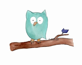 Ollie - owl nursery art print watercolor