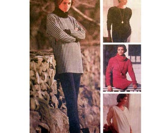"Women's Tunic Top Sewing Pattern, Loose-fitting Misses' Size 10, 12 Bust 32.5 - 34"" Uncut McCall's 6107"