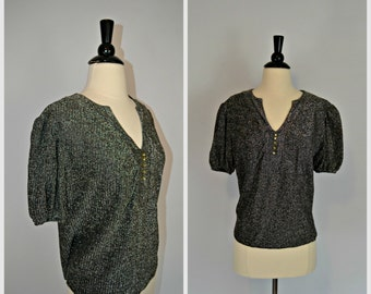1960s Black and Silver Metallic Lurex Blouse, Sparkly Top, Formal Top