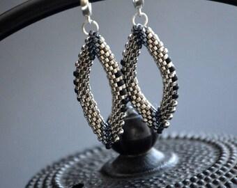 Beadwoven Silver Earrings