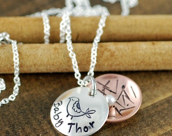 Mama Bird Necklace, Hand Stamped Mothers Necklace, Personalized Sterling Silver Jewelry, Copper, Nest Egg Necklace (1 or 2 EGGS)