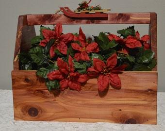 Cedar wood tool box, rustic table centerpiece, tool carrier, wood tool caddy, rustic tool box, flower box, Holiday decor