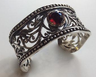 Garnet bracelet, Wide  filigree cuff,  Sterling filigree bracelet, statement cuff, Rustic bracelet for her - Because you're mine B3000