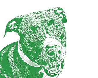 Custom Pet Portrait, Dog Lover Gift, Gift for Dog Mom, Pitbull