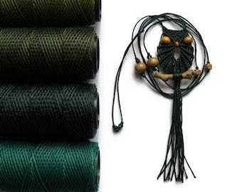 Pine Green Macrame Owl Necklace