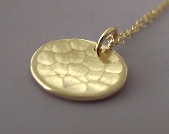 14k Gold Necklace Hammered Pool, Last Minute Gift, Free Shipping