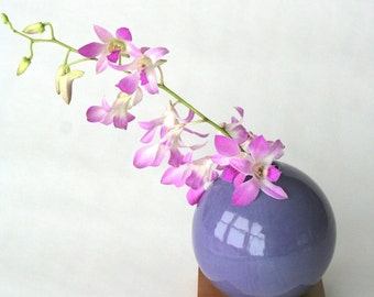 purple vase, ceramic and wood vase, Ceramic Vase, Flower Vase, Bud Vase, Pottery Vase, Modern, Mother's Days Gift, Wedding Gift, small vase