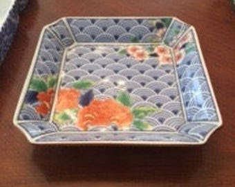 Blue and white trinket tray