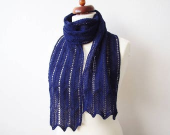navy blue scarf, handknit skinny scarf