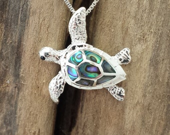 """Abalone Inlaid Sterling Silver Jewelry - Sea Turtle Pendant on a 18"""" box chain #G5*18"""