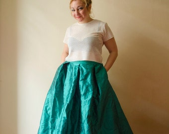 Mint Maxi Skirt, Dark Mint Ball Gown, Long Evening Skirt with Pleats and Pockets, Prom Skirt Party Ball Gown Plus Sizes