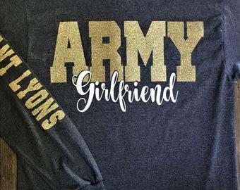 Gray Army Girlfriend Tee,  Long Sleeve, Military Girlfriend, Proud Girlfriend