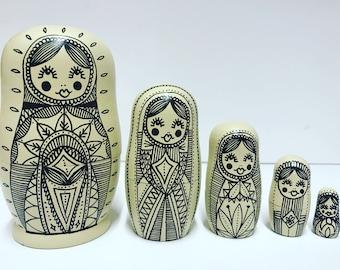 Russian Dolls, russian nesting dolls, matryoshka babushka dolls, dolls in dolls, Russian doll set, Russian doll gift, home decor cream