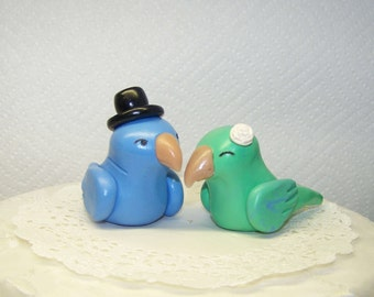 Collectible Parrotlet Love Bird Wedding Cake Topper Parrot Birds - Fully Customizable - Colors of Choice - Shown in Green/Blue and Blue
