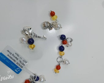 A lot of Handcrafted sterling silver, lapis,pearls,coral,Amber gemstone,charms,pendant, for bracelet,necklace,anklet
