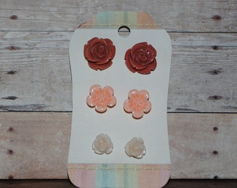 3 Pair Carded Set of Resin Flower Earrings Light Terra Cotta Peach Cream Perfect Teacher's Gifts