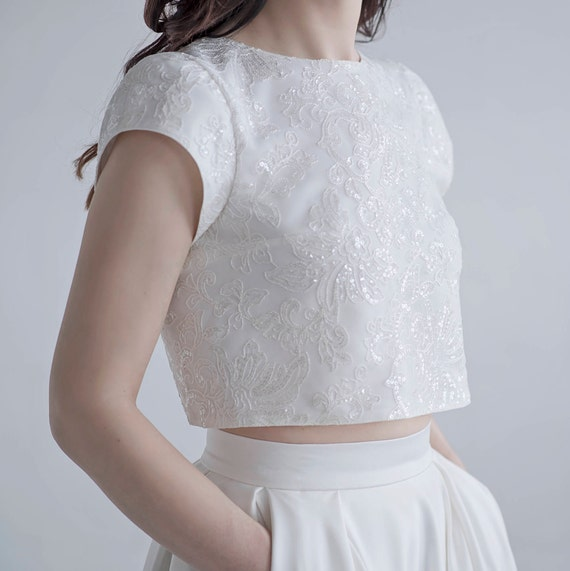 Aiko - sequined crop top with cap sleeves