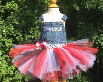 Girls Cow Overall Dress, Cow Red Overall Tutu Dress, 18-24 Month Cow Overall Dress, 18-24 Month Tutu Overall Dress, Cow Tutu Dress