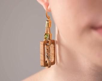 Square Olive Wood Earrings