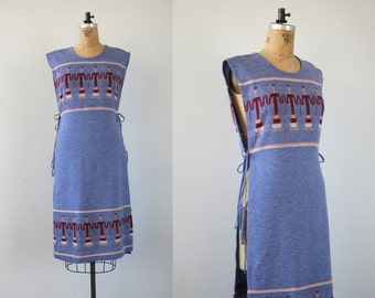 vintage 1970s dress / 70s sweater dress / 70s dress vest / 70s tie dress / 70s hippie dress / 70s boho dress / 70s novelty print / M L