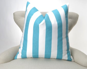 Blue Stripe Pillow Cover, Accent Pillow, Euro Sham, Decorative Cushion -MANY SIZES- Aqua Coastal Blue & White Canopy by Premier Prints