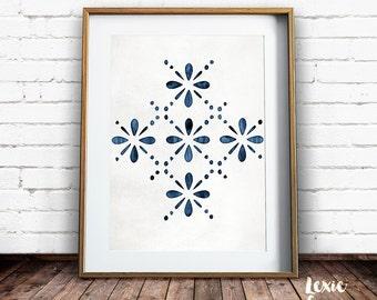 Scandinavian Pattern, Indigo Pattern, Scandinavian Print, Indigo Wall Art, Navy Print, Printable Wall Art