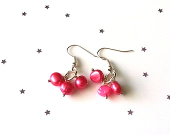 Pink fresh water pearl earrings - sterling silver earrings - 5 earring options available - pink earrings - gift for her