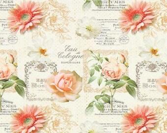 Fabric flowers roses and Gerbera Daisies, biot - 1/2 meter