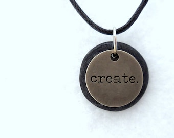 Create Necklace, Word Pendant, Polymer Clay Inspirational Jewelry