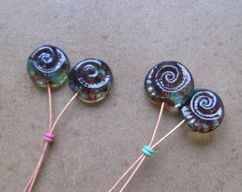 Lampwork Headpins - Glass Headpins - Ammonite Glass Headpins - Copper wire - Glass Headpins Pair - SueBeads - Headpins - Glass Heapins