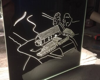 """Wall mirror handcrafted """"farm Corp"""" engraving from the sky"""