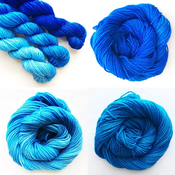 TRUE BLUE fade set of hand dyed yarn. Gradient ombre SET of 3 skeins. choose sock dk bulky merino wool yarn. choose base. deep - light blue