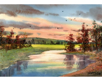 watercolor Painting landscape painting Creek PRINT Sunset tree fall trees with river  water GICLEE reproduction