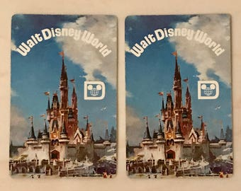 Lot of Two Walt Disney World Swap Cards Mickey Mouse Land Whitman 1970 Era Playing Cards FREE US SHIPPING