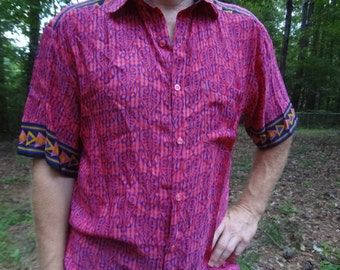 Men's Handmade Sari Silk Button Down Pocket Shirt - Pink and Royal Blue - Austin G686
