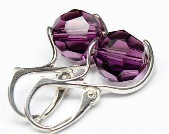Minimalist Earrings, Purple Dot, Amethyst Earrings, Modern Jewelry, Eggplant Bridesmaids Gift, Swarovski Crystal Sterling, Fashion Jewelry