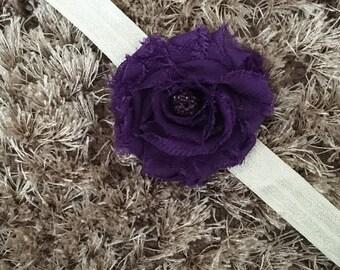 Purple Chiffon Headband, Shabby Chic Newborn Headband, Vintage Style Flower Baby Headband, Shambala Bead Sparkle Newborn Prop