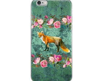 Fox on Green Damask Print with Pink Watercolor Roses Cell Phone Case iPhone Case 6 Plus, 6/6s, 7 Plus, 8 Plus, X