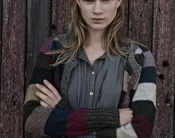 WOOL: handknitted cardigan with stripes, hand made from natural shetland wool