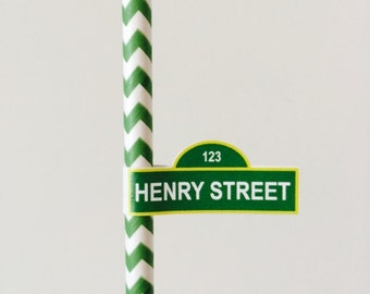 Sesame Street Cake Pop labels, straw labels
