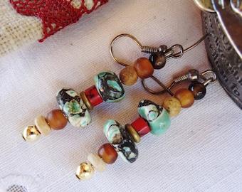 Nepal earrings howlite wood - gift idea