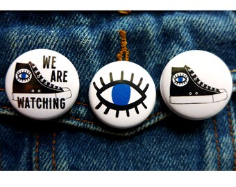 Evil Eye Pin, We are Watching You, Eye Button