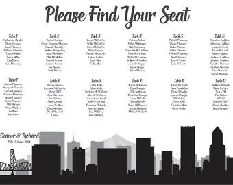 Portland Seating Chart Printable PDF Custom Poster Digital Design Print File ONLY Seating Plan Oregon