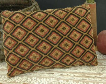 Cut Velvet Coverlet Pillow Tan Antique Brocade Primitive